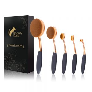 Beauty Kate Oval Makeup Brushes Set 5 Pcs Professional Oval Toothbrush Foundation Contour Concealer Eyeliner Blending Cosmetic Brushes Tool Set (Rose Gold Black)