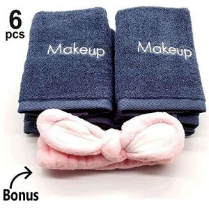 "Makeup Remover Towels 6pack - Makeup Remover Cloth 13"" X 13"" - Reusable Facial Cleansing Towel With Headband - Ultra Soft 100% Cotton Towel"