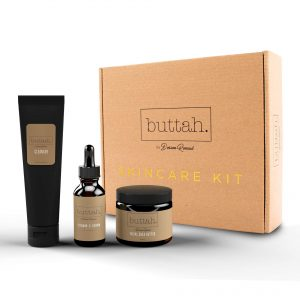 Buttah Skin by Dorion Renaud Complete Skin Kit for Melanin Rich Skin | Facial Shea Butter 2oz | Vitamin C Serum 1oz | Facial Cleanser 3.4oz | Organic & All Natural Skin Care | Black Owned Skincare