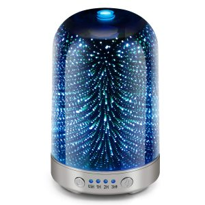 Essential Oil Diffuser 3D Glass Galaxy Aromatherapy 120ml Diffuser Aromatherapy Oil Cold Mist Humidifier 7-color LED Light Cycle Changing Automatic Shut Off Home Office Yoga SPA Baby