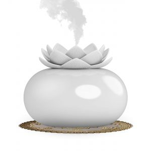 Vyaime Decor Essential Oil Diffuser Cute Lotus, Mini Ceramic Home Humidifiers Aromatherapy Difuser 200mL 12Hours, Air Purifier Freshener for Office Bedroom Yoga Spa Baby (White)
