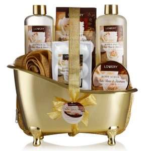 Mother's Day Home Spa Gift Basket, 13 Piece Bath & Body Set For Men & Women, White Rose & Jasmine Fragrance with Shower Gel, Bubble Bath, Body Scrub, Salts, 6 Bath Bombs, Pouf, Cosmetic Bag & Gold Tub