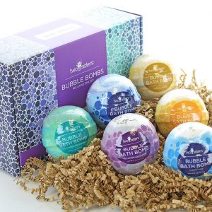 Relaxing Bubble Bath Bombs Gift Set by Two Sisters Spa. 6 Large 99% Natural Fizzies For Women, Teens and Kids. Moisturizes Dry Sensitive Skin. Releases Color, Scent, and Bubbles. Handmade in USA.