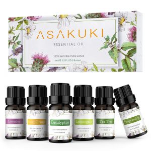 ASAKUKI 100% Pure Therapeutic Grade Essential Oils, Top 6 Aromatherapy Oils Gift Set 6 x 10ML for Diffuser, Humidifier, Winter(Lavender, Eucalyptus, Lemongrass, Tea Tree, Sweet Orange, Peppermint)