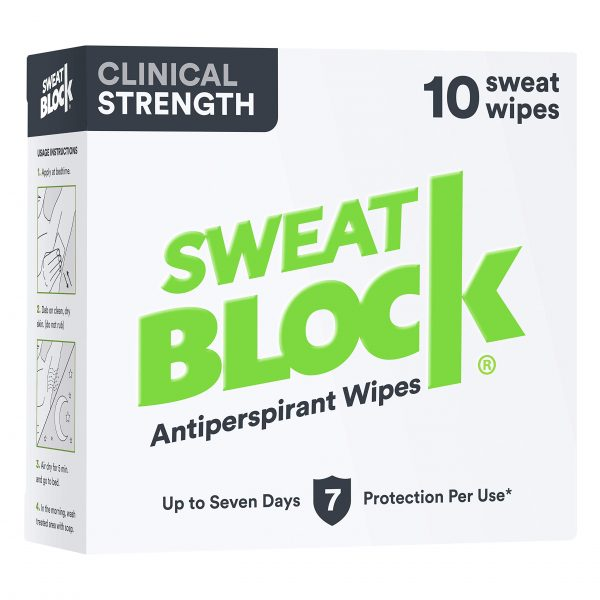 Sweatblock Antiperspirant For Men & Women - Clinical Strength Antiperspirant Wipes for Hyperhidrosis - Reduce Sweat Up To 7-days Per Use