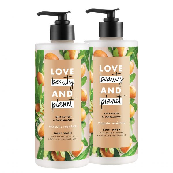 Love Beauty & Planet Majestic Moisture Body Wash Shea Butter & Sandalwood, Vegan, Paraben Free, and Sulfate Free, 16 oz, 2 count