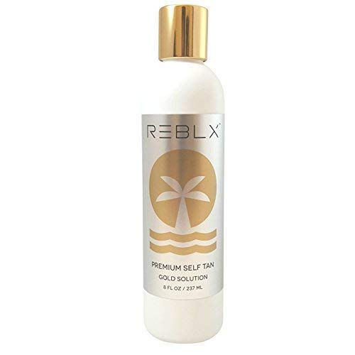 REBLX Premium Self Tan, 8 fl. oz. | Best Self Tanner for Face and Body | Made with a Blend of Premium & Natural Ingredients | Liquid Sunless Self Tanner for Streak Free Results | USA Made |