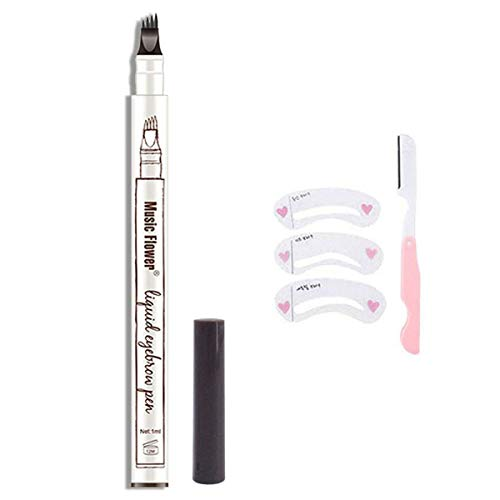 HSEE Eyebrow Tattoo Pen, Microblading Eyebrow Pen, Waterproof Eyebrow Pencil for Professional Makeup, Draws Natural Brow Hairs & Fills in Sparse Areas & Gaps, Lasting eye makeup, Dark Grey, 1 Count
