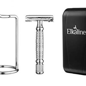 Razors Shaving Kit for Men or Women: Reusable, Double Edge, One Blade Safety Razor with Stand, Travel Case and 5 Replacement Blades - Butterfly Design to Easily Switch Blades - Great Men's Gift Idea