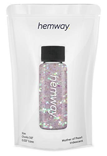 """Hemway Glitter Tube 12.8g / 0.45oz Extra Chunky 1/40"""" 0.025"""" 0.6MM Premium Sparkle Gel Nail Dust Art Powder Makeup Pigment Eyeshadow Face Body Eye Cosmetic Safe -(Mother Of Pearl)"""