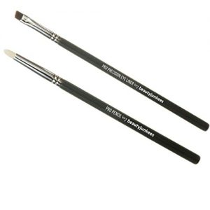 Professional Eyeliner Makeup Brush Set – 2pc Beauty Junkees Eye Liner Brushes Includes pro Precision Gel Liner for Tightline and pro Pencil Smudge for Blending Shadows on Lash Line; Premium Quality