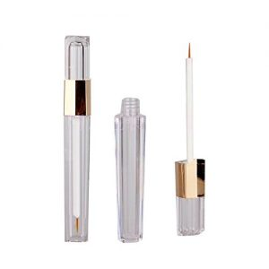 4Pcs 3ml Plastic Eyeliner Vials Tube with Wand Applicators Clear Empty Eyelashes Mascara Containers Bottle for Castor Oil Growth Oil