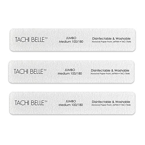 Tachibelle 3 Pcs Premium JAPAN Abrasive Jumbo File 100/180 Medium Washable Zebra File Nail Art Sanding Nail Files