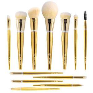 PINKPANDA 18k Gold-Plated Makeup Brushes 12 Pcs Professional Makeup Brush Set Premium Synthetic Cosmetic Foundation Blending Blush Concealers Eye Shadows Face Powder Brush Kabuki Make Up Brushes Kit