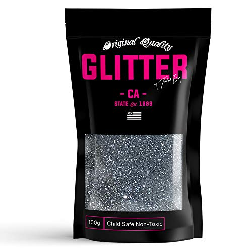 Gunmetal Silver Gray Premium Glitter Multi Purpose Dust Powder 100g / 3.5oz for use with Arts & Crafts Wine Glass Decoration Weddings Cards Flowers Cosmetic Face Body (Packaging May Vary)