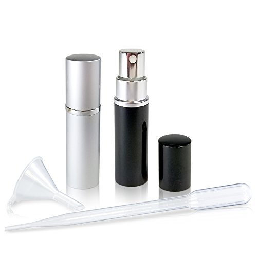 Refillable Perfume & Cologne Fine Mist Atomizers with Metallic Exterior & Glass Interior - 5ml Portable Travel Size - 3ml Squeeze Transfer Pipette Included (2 Pack, Silver & Black)