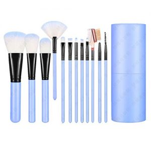 Shiratori Makeup Brush Set with Holder 12Pcs Makeup Brushes Premium Synthetic Foundation Brush Blending Face Powder Blush Concealers Eyeshadow Make Up Brushes Kit - Blue