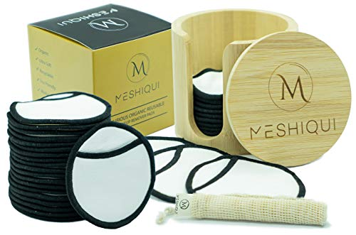 Meshiqui Reusable Makeup Remover Pads | 100% Premium Organic Natural Bamboo Cotton Rounds | 20 Pack Washable Eco-Friendly Cotton Pads | Waterproof Eye Makeup Remover Pads | With Bamboo Box