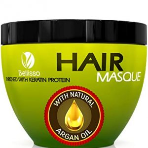 Bellisso Moroccan Argan Oil Hair Mask Deep Conditioner Sulfate Free for Dry or Damaged Hair with Organic Jojoba Kernel Oil Aloe Vera Collagen and Keratin
