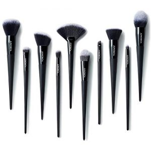 Makeup Brushes, JUNO & Co 10pcs Makeup Brush Set, Premium Cosmetic Brushes for Foundation Blending Blush Concealer Eye Shadow, Cruelty-Free Synthetic Fiber Bristles, Black
