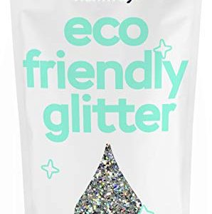 "Hemway Eco Friendly Biodegradable Glitter 100g / 3.5oz Bio Cosmetic Safe Sparkle Vegan for Face, Eyeshadow, Body, Hair, Nail and Festival Makeup, Craft - 1/40"" 0.025"" 0.6mm - Silver Holographic"