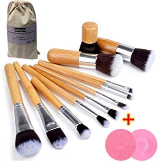 Sooyou Premium Makeup Brushes Set with Brush Cleaning Tool- 12 Pc Face and Eye, Synthetic Brushes for Foundation, Powder, Blush, and Eyeshadow with Gift Bag