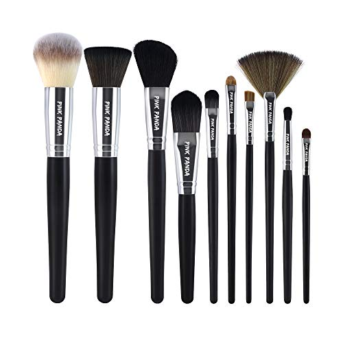 PINKPANDA Makeup Brushes,10 Pcs Makeup Brush Set,Premium Synthetic for Foundation Brush Blending Face Powder Blush Concealers Eye Shadows Make Up Brushes Kit (Black Wooden Handle)