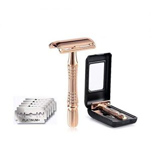 Classic 3-Piece Razor Double Edge Safety Razor Manual Shaver Rose Gold + 5 Sharp Blades with a ABS Case