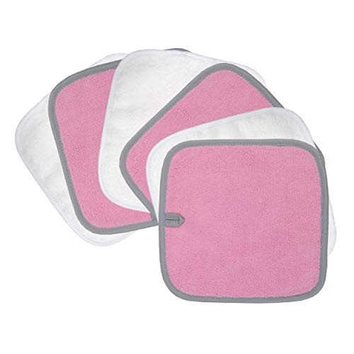 Polyte Premium Hypoallergenic Chemical Free Microfiber Makeup Remover and Facial Cleansing Cloth, 8 x 8 in, 6 Pack (Pink,White)