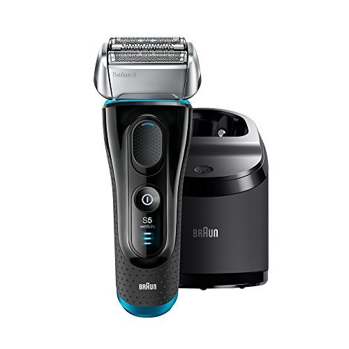 Electric Razor for Men by Braun, Series 5 5190cc Electric Shaver with Precision Trimmer, Rechargeable, Wet & Dry, Clean & Charge Station and Travel Case