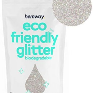 "Hemway Eco Friendly Biodegradable Glitter 100g / 3.5oz Bio Cosmetic Safe Sparkle Vegan for Face, Eyeshadow, Body, Hair, Nail and Festival Makeup, Craft - 1/128"" 0.008"" 0.2mm - Mother of Pearl"