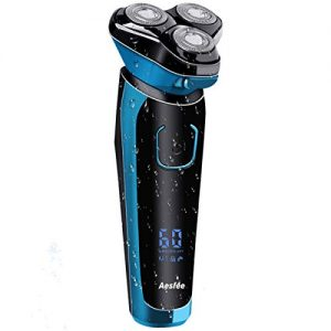 Electric Shaver for Men Wet and Dry IPX7 Waterproof, Electric Razor Cordless Men's Travel 3D Rotary Shavers Rechargeable with Pop-up Trimmer, Digital Indicator