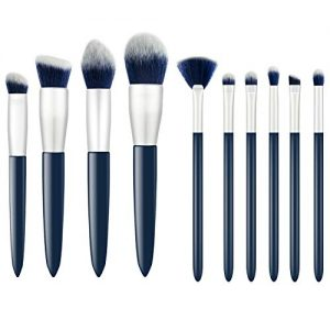 Makeup Brushes, Premium 10 Pcs Professional Synthetic Foundation Powder Contour Blending Kabuki Blush Concealer Eye Shadows Makeup Cosmetic Brush Set (Navy Blue)