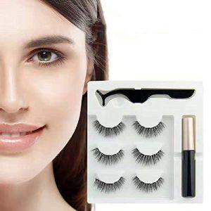 Premium Magnetic Eyeliner With 3D Magnetic Eyelashes, Natural full-eyed 5-magnet eyelashes False Lashes, Reusable Fake Eye Lashes with Tweezer(3Pairs/6Pcs) (Black)
