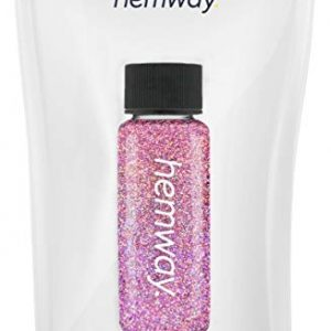 "Hemway Glitter Tube Ultra Fine 1/256"" Premium Sparkle Gel Nail Dust Art Powder Makeup Pigment Eyeshadow Face Body Eye Cosmetic Safe - 12.8g / 0.45oz (Pink Holographic)"