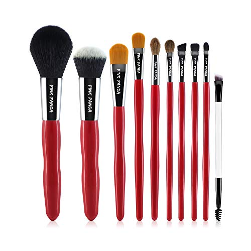 PINKPANDA Makeup Brushes,10 Pcs Makeup Brush Set,Premium Synthetic for Foundation Brush Blending Face Powder Blush Concealers Eye Shadows Make Up Brushes Kit (Red Wooden Handle)