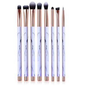 Makeup Brushes, 8pcs Marble Pattern Eye Makeup Brush Set for Premium Synthetic Eyeshadow Eyebrow Eyeliner Blending Concealer Contour Make Up Brushes Kit