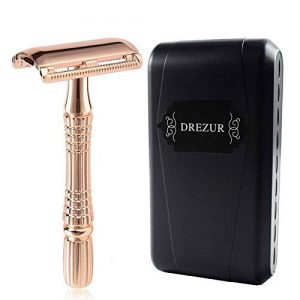 Rose Gold Double Edge Razor by DREZUR, Classic 3-Piece, Old Fashioned Safety Razor, Comes with 10 Premium Razor Blades + Travel Case, Elegant Chrome Plated, Gift For Men