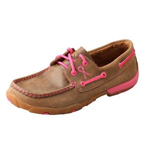 Twisted X Women's Boat Shoe Leather Driving Moccasins, Bomber/Pink, 7.5 Medium