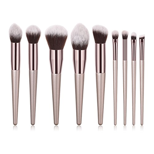 BBL 9PCs Professional Makeup Brush Set, Premium Cosmetic Brushes for Foundation Powder Concealers Eye Shadows Eyebrow with Cruelty-Free Synthetic Fiber Bristles and Wooden Handle, Champagne