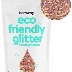 "Hemway Eco Friendly Biodegradable Glitter 100g / 3.5oz Bio Cosmetic Safe Sparkle Vegan for Face, Eyeshadow, Body, Hair, Nail and Festival Makeup, Craft - 1/40"" 0.025"" 0.6mm - Rose Gold Holographic"