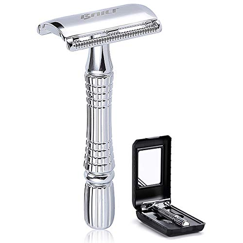 BAILI Classic 3-Piece Double Edge Safety Razor Wet Shaving for Men Women with Platinum Blade and Mirrored Travel Case BD176