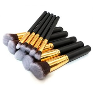 SUNSHINE SMILE Makeup Brushe Set 10 PCs Premium Synthetic Foundation Brush Blending Face Powder Blush Concealers Eye Shadows Make Up Brushes Kit (Golden/Black)