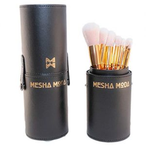 Meshamoda Make Up brushes, 10 Pcs Professional Soft Blending Make up Brushes Set, Premium Synthetic Cosmetic Foundation Blending Blush Eyeliner Face Powder Brush Make up Kit with a Leather Case