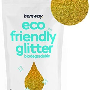 "Hemway Eco Friendly Biodegradable Glitter 100g / 3.5oz Bio Cosmetic Safe Sparkle Vegan for Face, Eyeshadow, Body, Hair, Nail and Festival Makeup, Craft - 1/128"" 0.008"" 0.2mm - Gold Holographic"