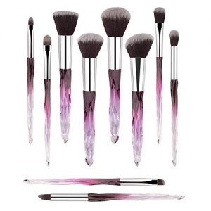 Premium Makeup Brush Set, 10pcs Complete Synthetic Kabuki Eye Shadow Concealer Make Up Brushes Beautiful Crystal Handle (Purple)