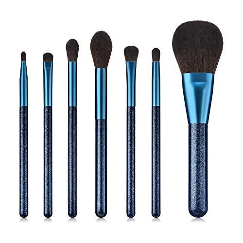 BBL Luxury 7pcs Sapphire Makeup Brush Set, Premium Synthetic Hair Cosmetic Brushes for Foundation Blush Face Powder Eyeshadow Liquid Cream Tapered Concealer Contour Blending Highlighting Eyebrow kabuk