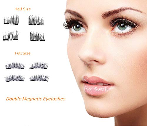 Premium Magnetic Eyelashes Extension Set, Coco Makeup Half-size and Full-Size Ultra-thin Magnetic Lashes – 3D Reusable Natural Look (8PSc/ 2 pairs with Stainless Steel Tweezer) (half and full size)