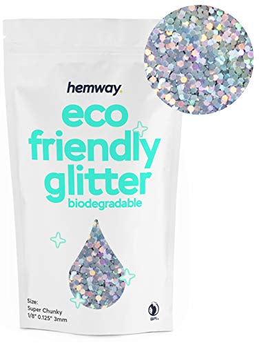 """Hemway Eco Friendly Biodegradable Glitter 100g / 3.5oz Bio Cosmetic Safe Sparkle Vegan for Face, Eyeshadow, Body, Hair, Nail and Festival Makeup, Craft - 1/8"""" 0.125"""" 3mm - Silver Holographic"""