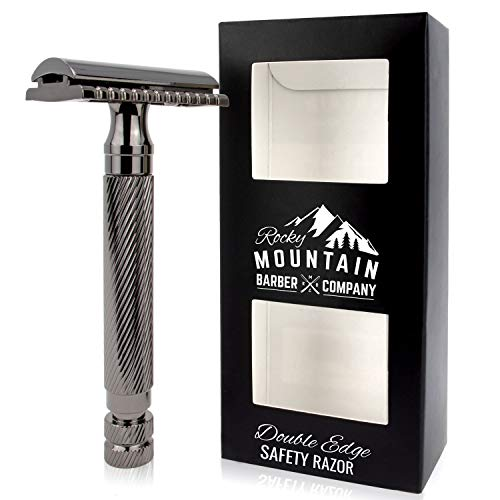 Men's Double Edge Safety Razor - Premium, Heavy Duty Safety Razor, 3 Piece Closed Comb Design For a Closer Shave - Made with Brass & Metal Finish by Rocky Mountain Barber Company